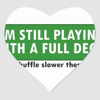 Jogo com uma plataforma de cartões completa adesivo coração
