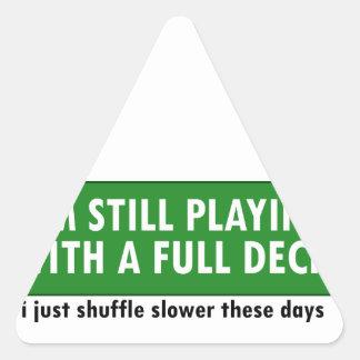Jogo com uma plataforma de cartões completa adesivo triangular