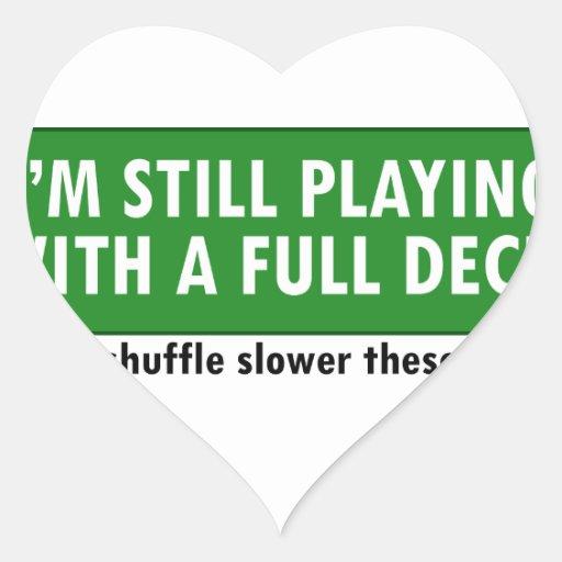 Jogo com uma plataforma de cartões completa adesivo em forma de coração