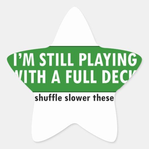 Jogo com uma plataforma de cartões completa adesivo em forma de estrela