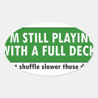 Jogo com uma plataforma de cartões completa adesivos em formato oval