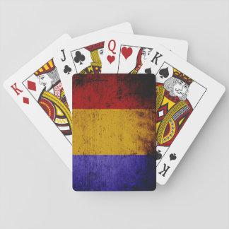 Jogo De Baralho Bandeira preta de Romania do Grunge