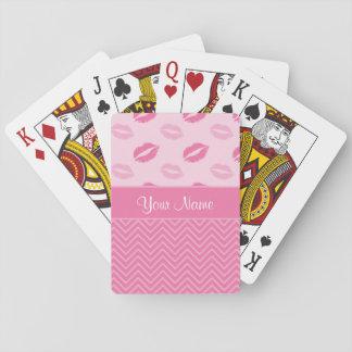 Jogo De Baralho Beijos e ziguezagues rosa e branco