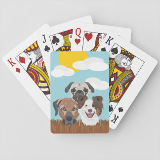 Jogo De Baralho Cães afortunados da ilustração em uma cerca de