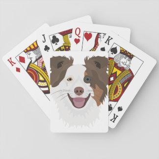Jogo De Baralho Cara feliz border collie dos cães da ilustração
