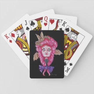 Jogo De Baralho Cartões de jogo cor-de-rosa da menina do bastão