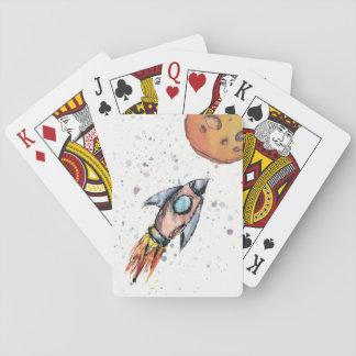 Jogo De Baralho Cartões de jogo de Rocket de espaço da aguarela