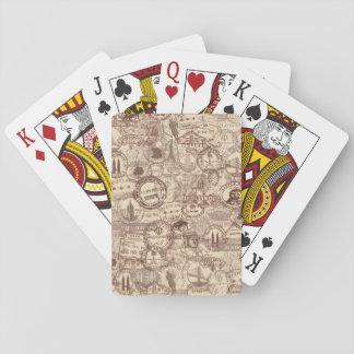 Jogo De Baralho Cartões de jogo dos selos do passaporte do vintage