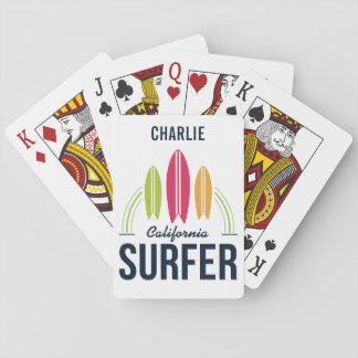 Jogo De Baralho Cartões de jogo feitos sob encomenda do surfista