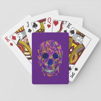Jogo De Baralho Cartões de jogo roxos do crânio legal do açúcar