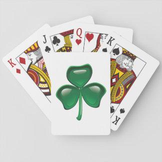 Jogo De Baralho Cartões de jogo verdes do trevo
