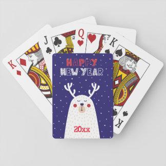 Jogo De Baralho Cartões do design/de jogo do feliz ano novo/rena