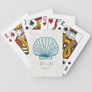 Jogo De Baralho Casamento rústico do Seashell dos azuis marinhos