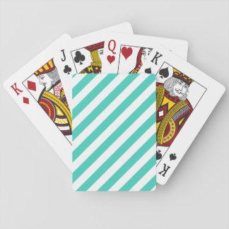 Jogo De Baralho Cerceta e teste padrão diagonal branco das listras