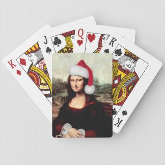 Jogo De Baralho Chapéu do papai noel do Natal de Mona Lisa