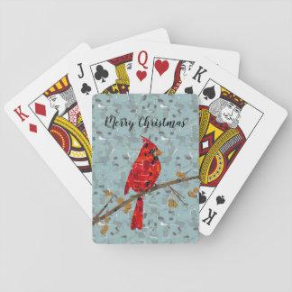 Jogo De Baralho Colagem cardinal do pássaro do Natal