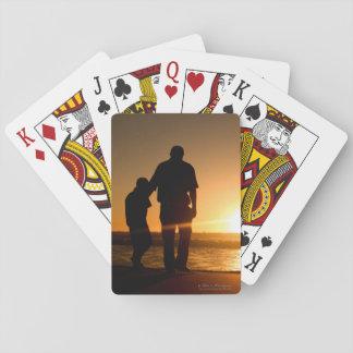 Jogo De Baralho Dar uma volta do pai e do filho a praia