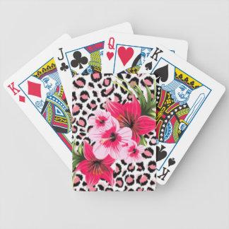Jogo De Baralho Flores cor-de-rosa & design do impressão do teste