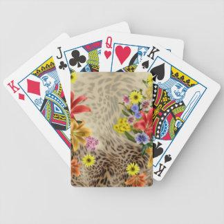 Jogo De Baralho Flores & impressão coloridos do leopardo