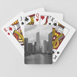 Jogo De Baralho Grayscale de Chicago River da torre do trunfo