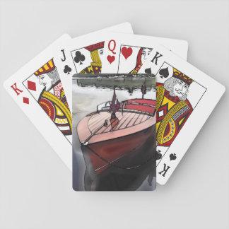 Jogo De Baralho Impressão de mogno clássico do barco em cartões de