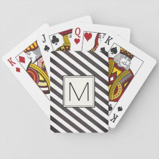 Jogo De Baralho Listras diagonais com quadrado do monograma