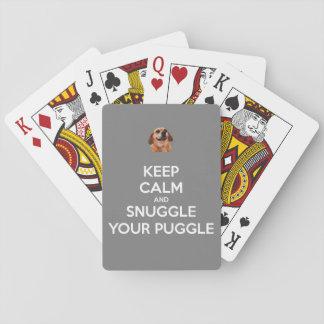 Jogo De Baralho Mantenha a calma e Snuggle seu Puggle - cartões de