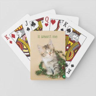 Jogo De Baralho Natal do país Tangled acima do gatinho