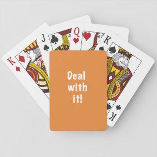 """Jogo De Baralho """"Negócio com ele"""" cartões de jogo--texto branco"""