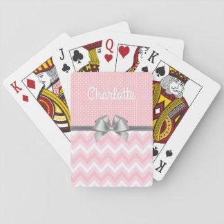 Jogo De Baralho Nome feminino da fita branca cor-de-rosa das