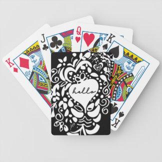 """Jogo De Baralho """"Olá!"""" o preto & brancos, corações, deixam o teste"""
