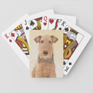 Jogo De Baralho Pintura de Airedale Terrier - arte original bonito