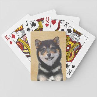 Jogo De Baralho Pintura de Shiba Inu (preto e Tan) - arte do cão