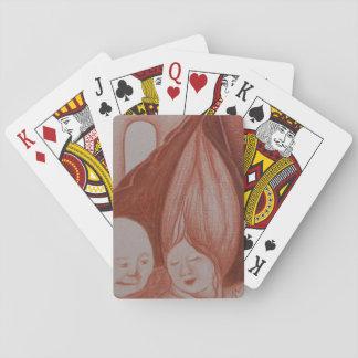 Jogo De Baralho Plataforma velha da arte do conforto de cartões de
