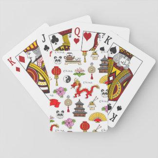 Jogo De Baralho Teste padrão dos símbolos de China