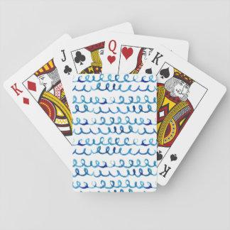 Jogo De Baralho Teste padrão ondulado da aguarela azul pintado mão