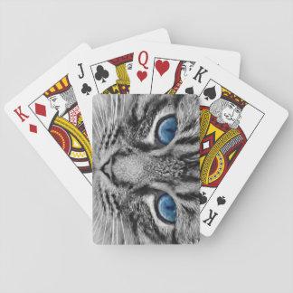 Jogo De Baralho Tigre de olhos azuis das cinzas dos cartões de