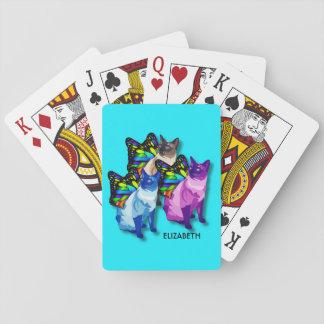 Jogo De Baralho Três gatos psicadélicos com asas da borboleta