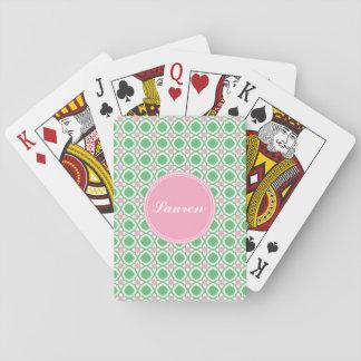 Jogo De Baralho Verde personalizado e cartões de jogo cor-de-rosa