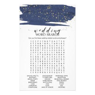 Jogo de busca da palavra do casamento do marinho e flyer
