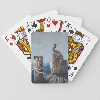 Jogo De Carta Arte acrílica do oceano do pelicano de Brown da