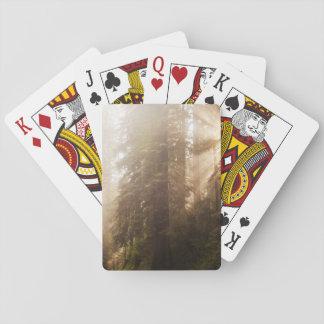 Jogo De Carta Árvores da sequóia vermelha na névoa da manhã com