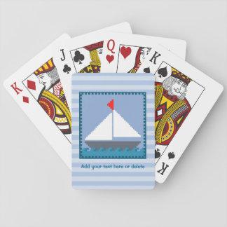 Jogo De Carta Barco de vela dos retalhos em azul e no branco