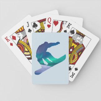 Jogo De Carta Cartões da aurora boreal da silhueta do
