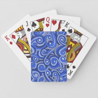Jogo De Carta Cartões de jogo com Doodles azuis