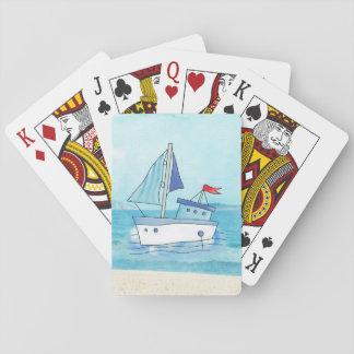 Jogo De Carta Cartões de jogo náuticos com o barco no lago