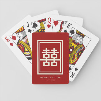 Jogo De Carta Casamento chinês vermelho da felicidade dobro do
