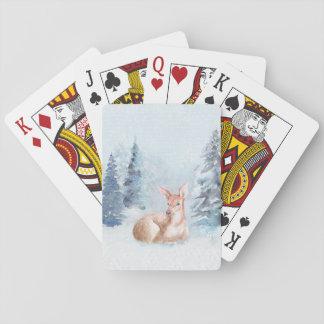 Jogo De Carta Cervos chiques da aguarela do inverno na floresta