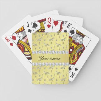 Jogo De Carta Diamantes elegantes de Bling da folha de ouro do