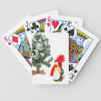Jogo De Carta Estatueta do pinguim com esquis e árvore de Natal